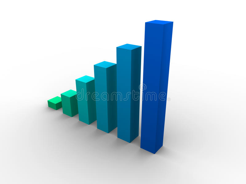 Business graph. Beautiful 3d blue business graph royalty free illustration
