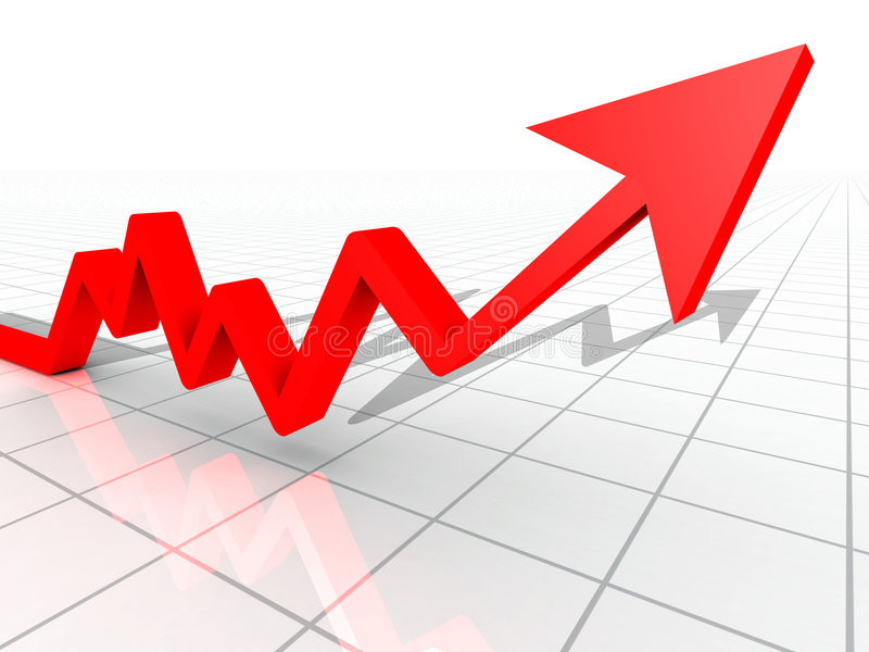 Business Graph. With arrow showing profits and gains on a white reflective background