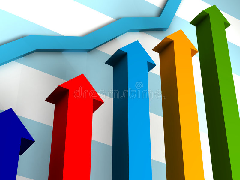 Business Graph. With arrow showing profits and gains vector illustration
