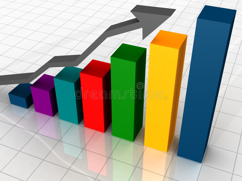 Business Graph. With arrow showing profits and gains stock illustration