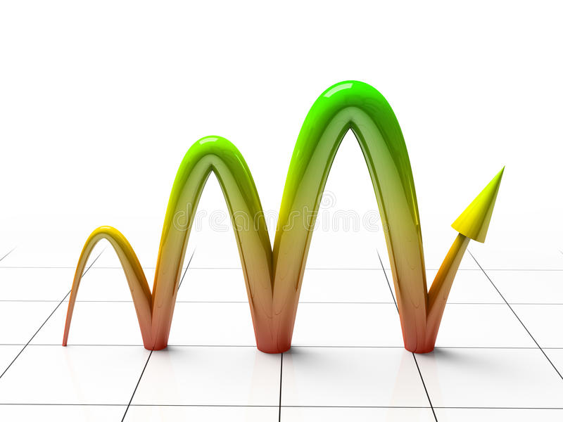 Business Graph. Showing profits and gains 3D rendering stock illustration