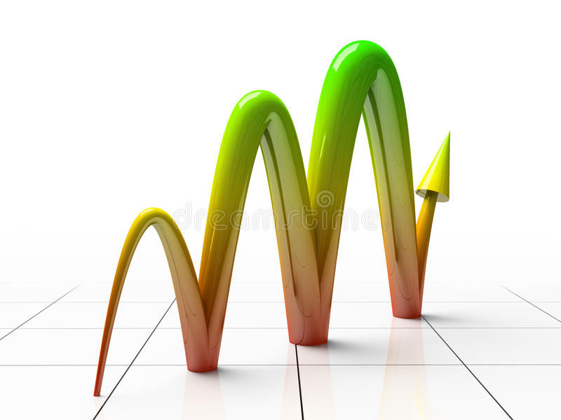 Business Graph. Showing profits and gains 3D rendering royalty free illustration