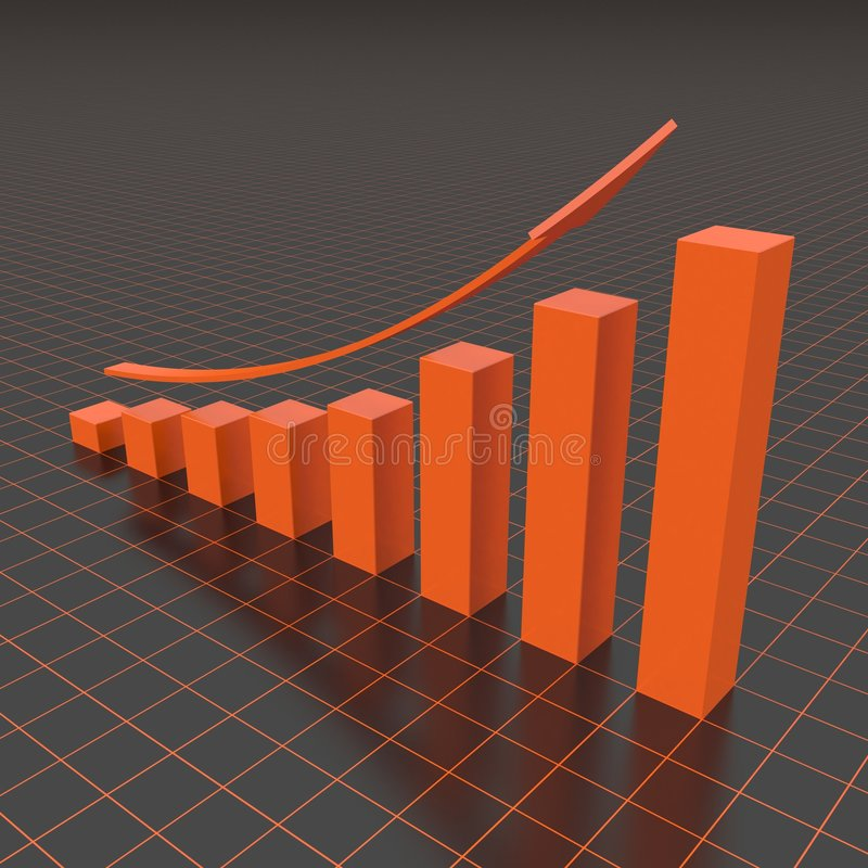 Business graph. Scene business graphics in the manner of 3d diagrams
