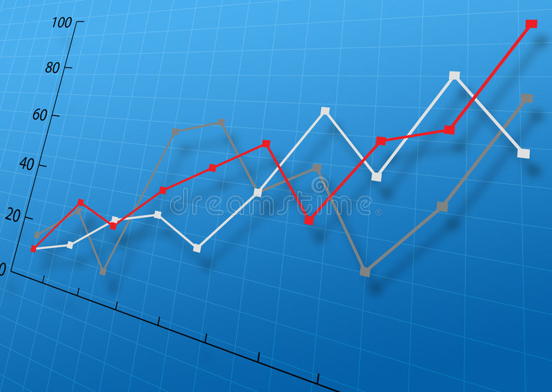 Business Graph. On blue background