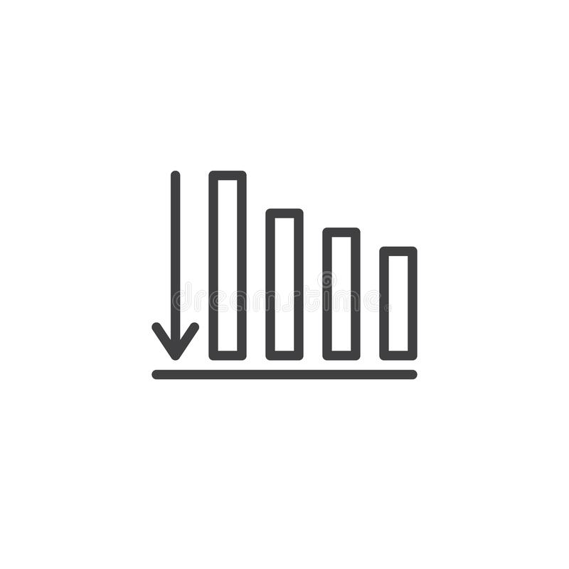 Business graph with arrow down outline icon stock illustration