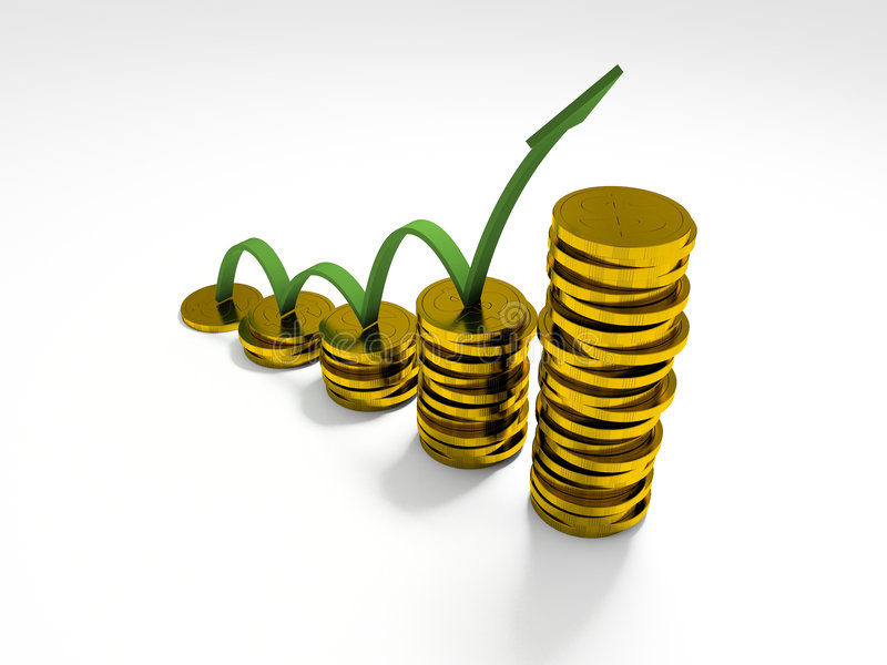 Download Business Graph With Arrow Showing Profits And Gains Stock Image - Image: 1566089