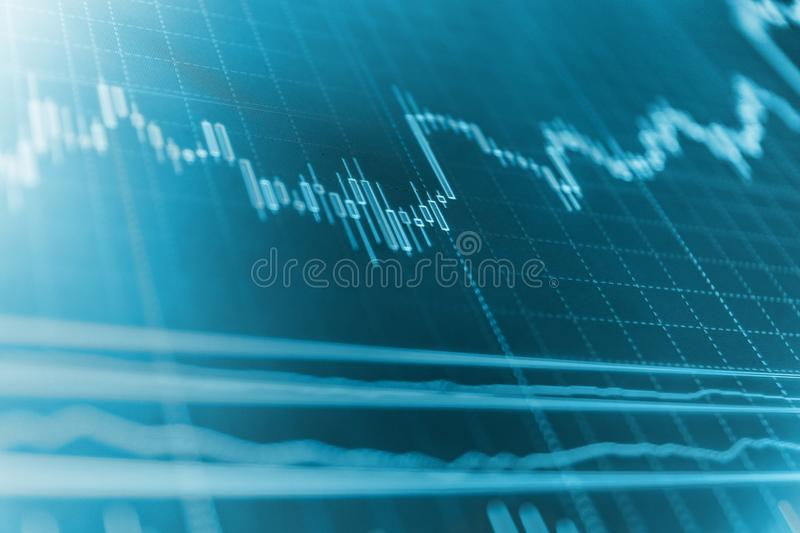 Business graph with arrows tending downwards. Blue screen of finance data. Finance background data graph. royalty free stock image