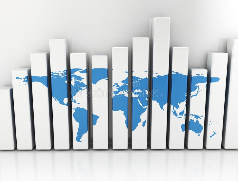 Business graph with blue world map royalty free stock image