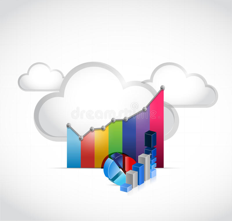 Business graph and cloud computing. Illustration design over white stock images