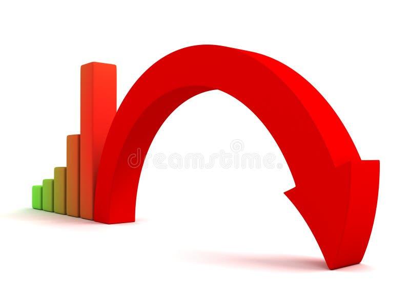 Business graph decline arrow down crisis concept. 3d royalty free illustration