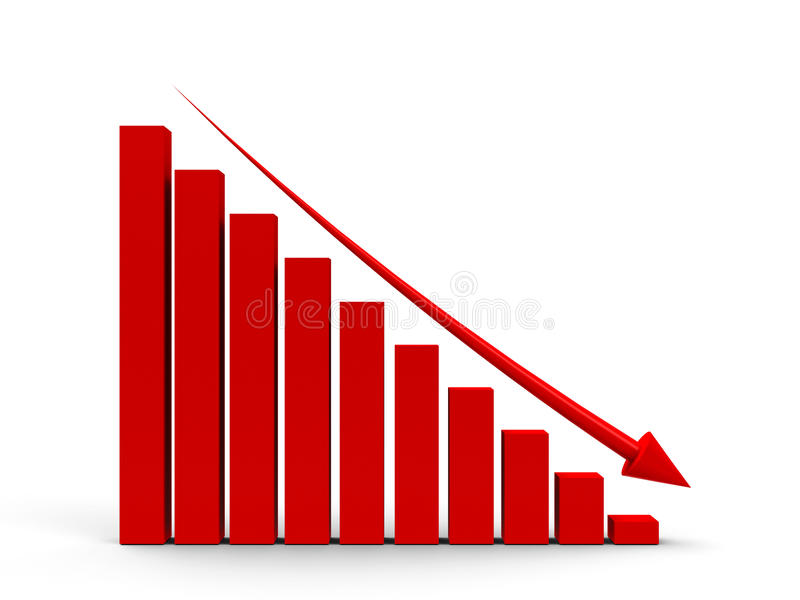 Business graph down. Red business graph with red arrow down, three-dimensional rendering vector illustration