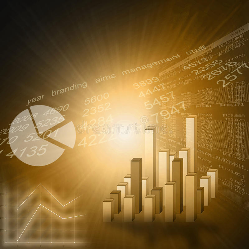Business graph - golden stock photography