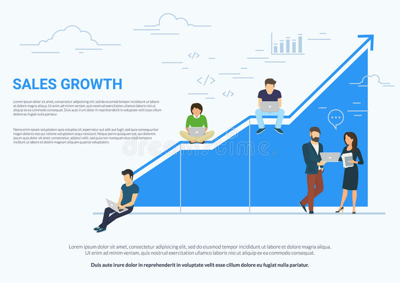 Business graph growth concept white illustration. Business sales growth concept vector illustration of professional people working as team and sitting on blue royalty free illustration