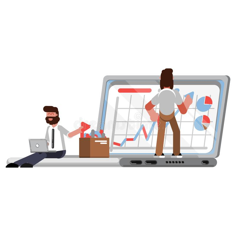 Business graph helpers on laptop vector illustration
