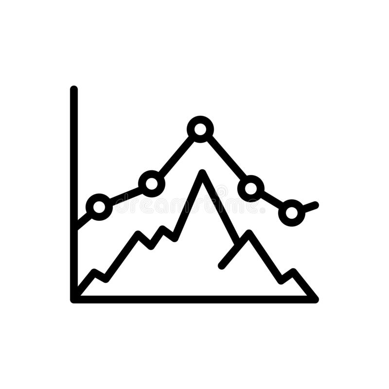 Black line icon for Business Graph, business and graph royalty free illustration