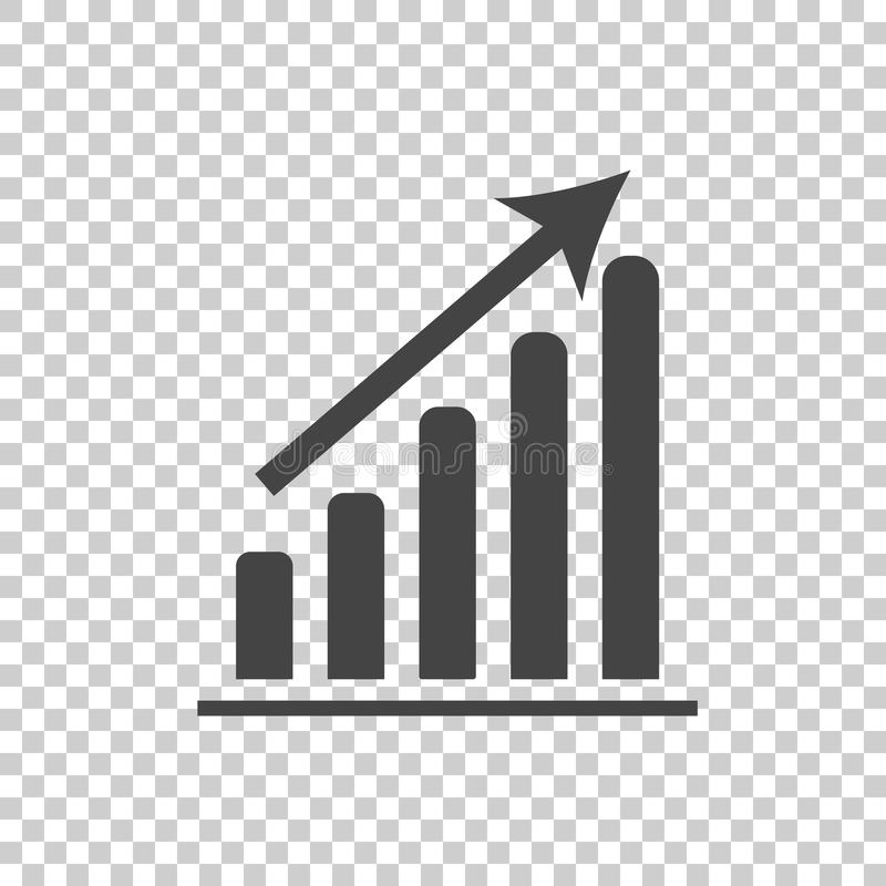 Business graph icon. Chart flat vector illustration on white background. vector illustration