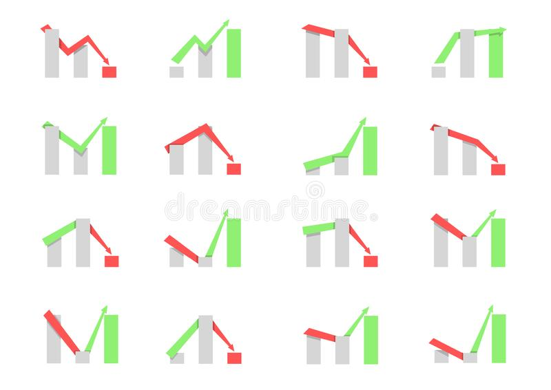 Business graph icon set royalty free illustration