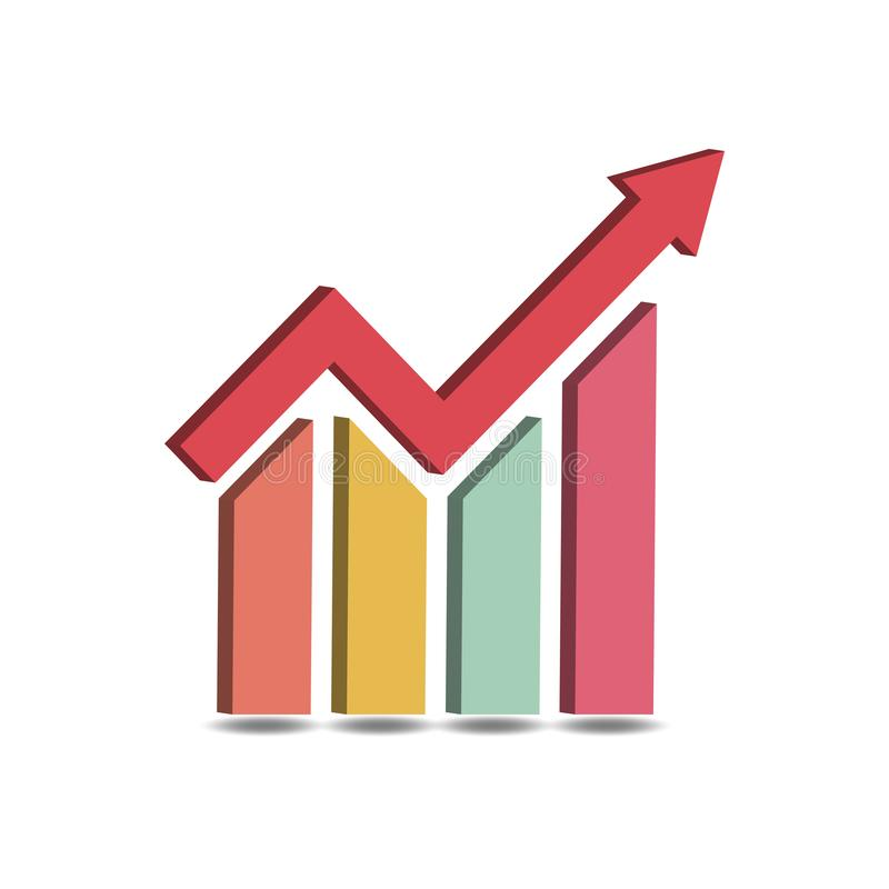 Business Graph Icon Vector 3D vector illustration