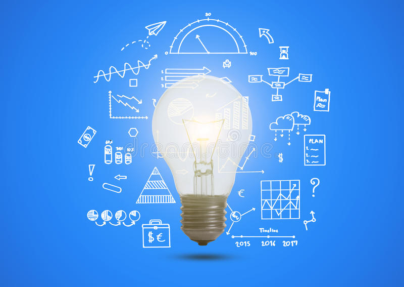 Business graph with illuminated light bulb concept for idea. royalty free stock images