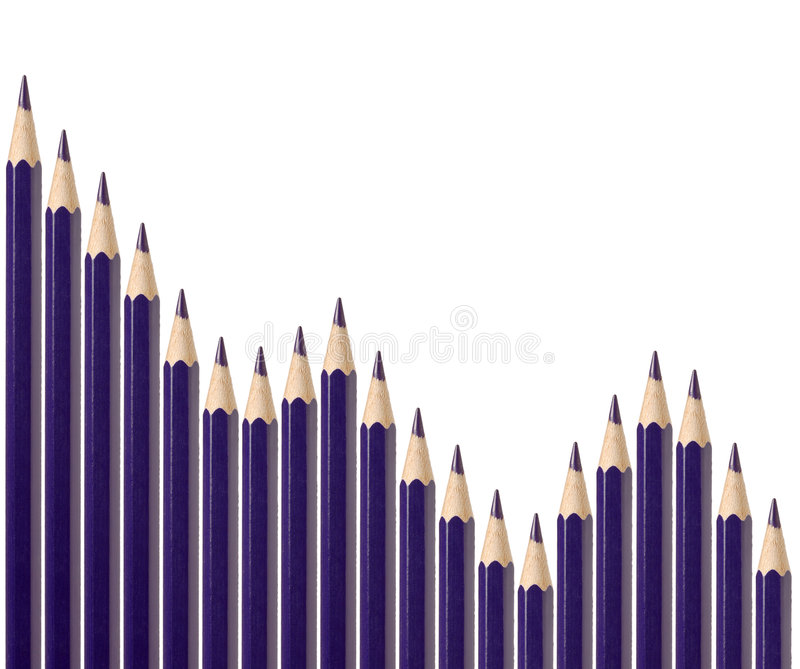 Business graph illustrating decline. Made up of blue pencils stock photo