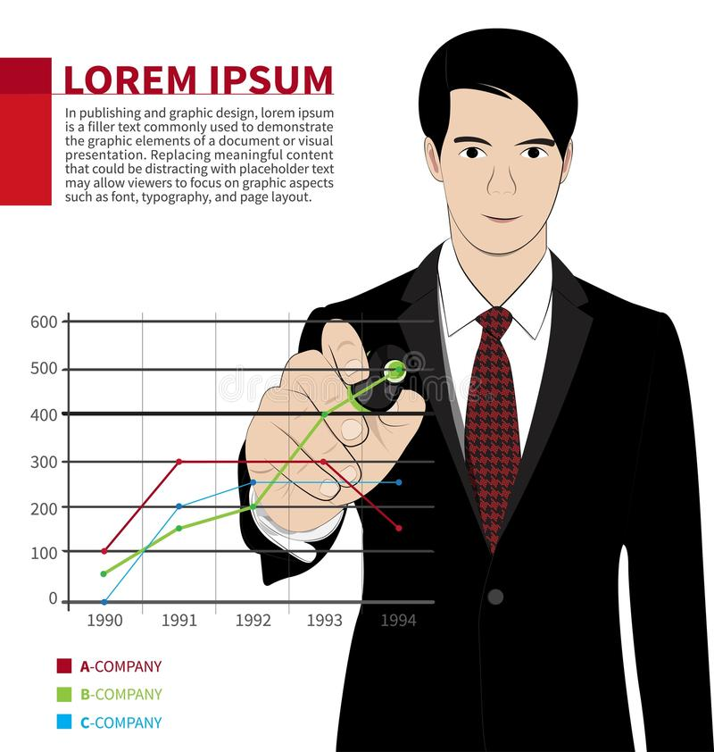 Business Graph. Business man hand drawing a graph vector illustration