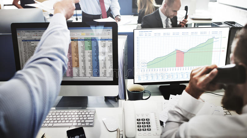 Business Graph Measurements Data Presentation Concept. Business People Looking Graph Measurements Data Presentation royalty free stock photography