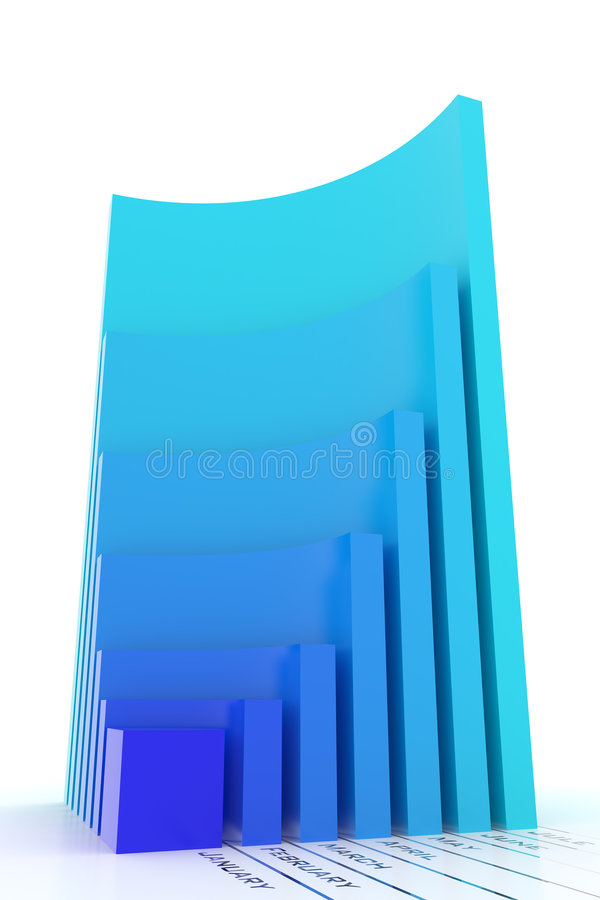 Download Business Graph. Monthly Growth. Blue Version Stock Illustration - Image: 8425204