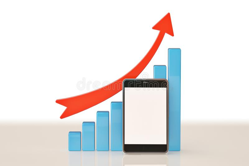 A business graph with rising arrow and smartphone.3D illustration. vector illustration