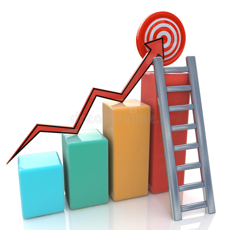 Business graph with rising arrow to target and lad royalty free stock photography