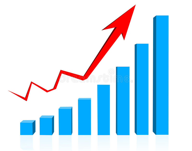 Business graph. With rising up red arrow stock illustration