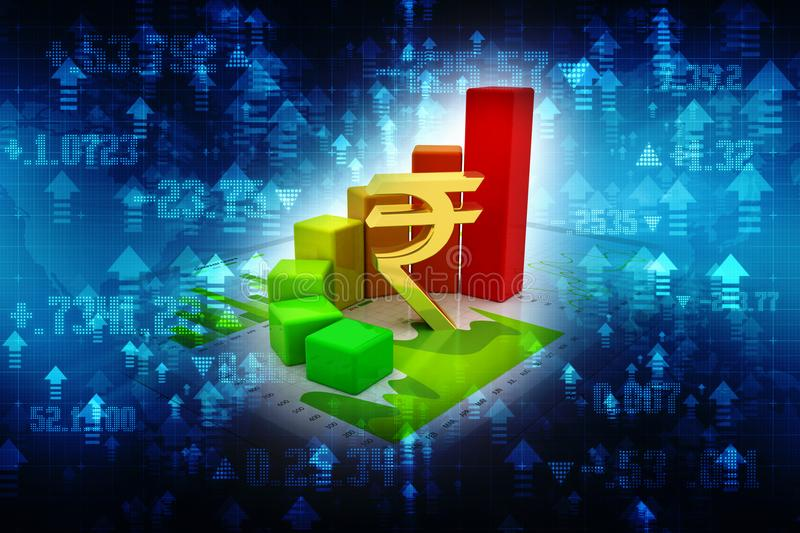 Indian Rupee with Business Graph in digital background royalty free illustration