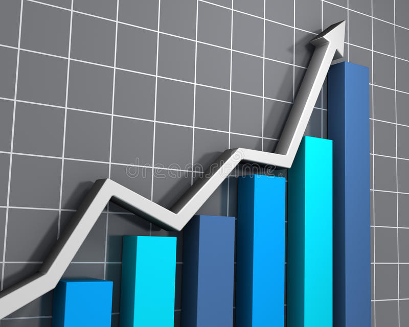 Business graph showing growth. 3D rendered image of a rising trend in statistics vector illustration