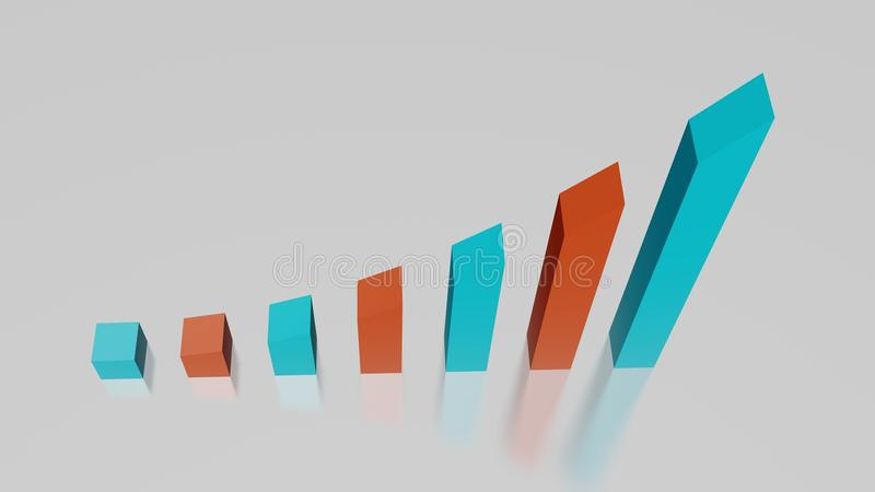 Business graph showing upwards trend with red and blue bars, Low angle with no distortion. Perfect for to convey upwards trends in business vector illustration