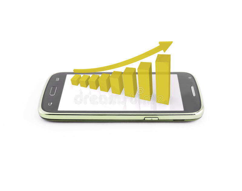 Business graph on the smartphone mobile. Yellow color stock illustration