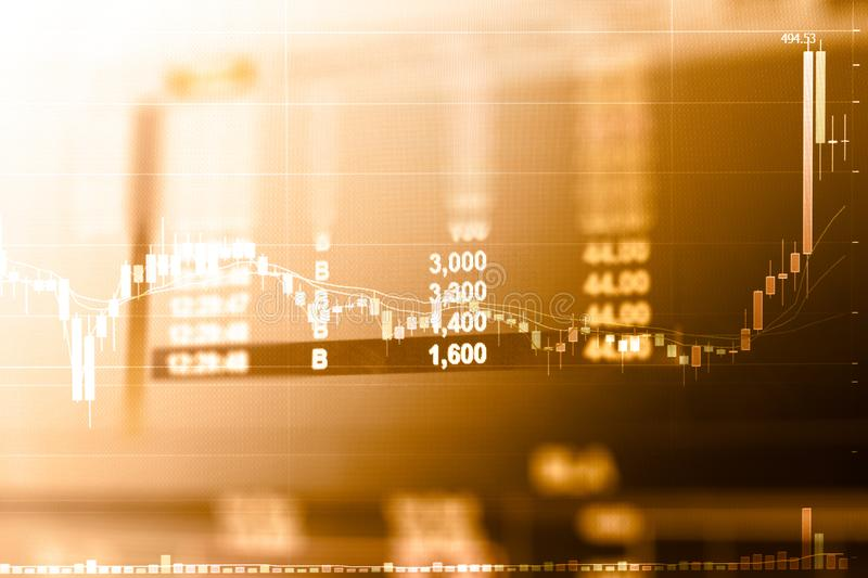Business graph and trade monitor of Investment in gold trading stock photography