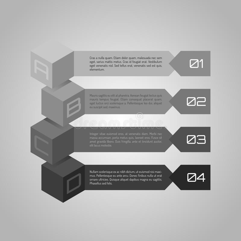 Business graphic. Monochrome step by step vector Illustration. Business infographic design on simple background with numbers and text for diagram, chart, web vector illustration