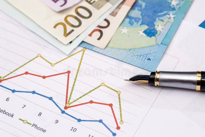 Business graphics with euro notes stock photography