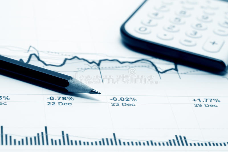 Business graphs. Analysis of stock market graphs stock image