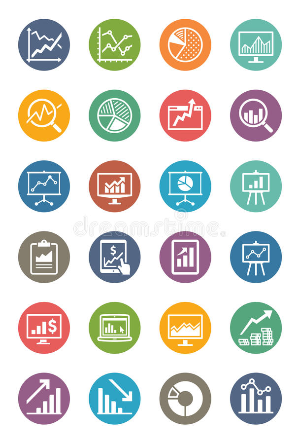 Business Graphs & Charts Icons - Dot Series vector illustration