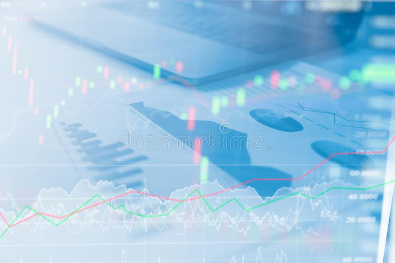 Business graphs and charts report. Calculator on desk of financial planing. Financial abstract concepts royalty free stock photos