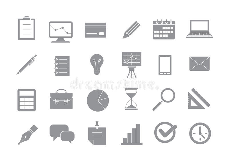 Business gray vector icons set vector illustration