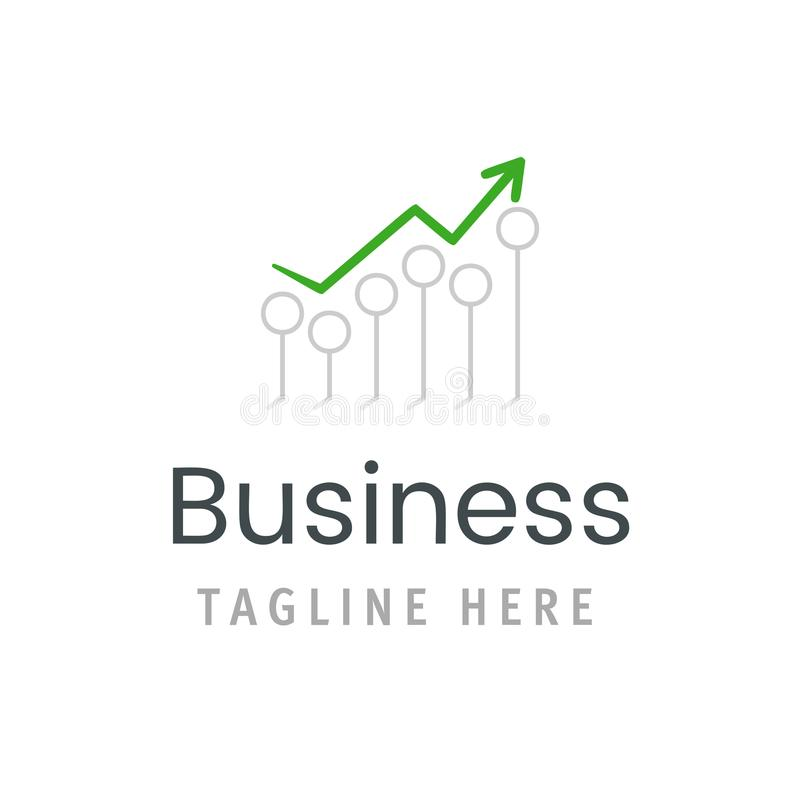Business green arrow chart growth icon. Market statistic report logo template. Creative vector illustration financial concept royalty free illustration