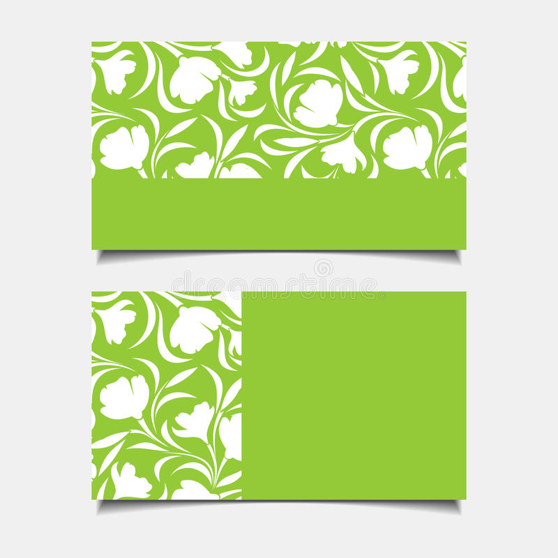 Business green cards with floral pattern. Vector illustration. Vector business green cards with floral pattern vector illustration