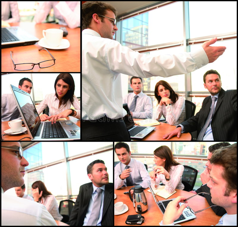 Business group brainstorming collage stock photo