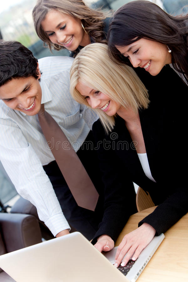 Download Business Group With A Computer Stock Photo - Image: 14020608