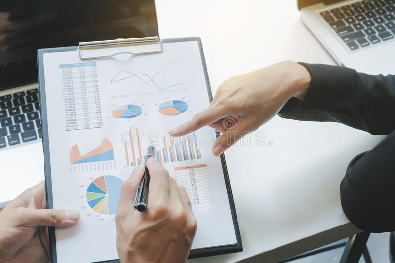 Business group discussing the data chart documents. On the desk at the office royalty free stock photography