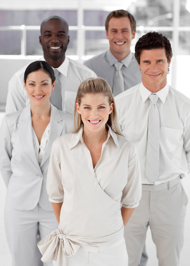 Download Business Group Of Five People Looking At Camera Royalty Free Stock Photography - Image: 9098677