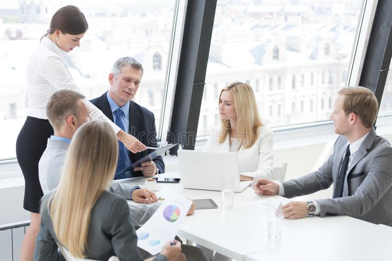 Business group at meeting stock photo