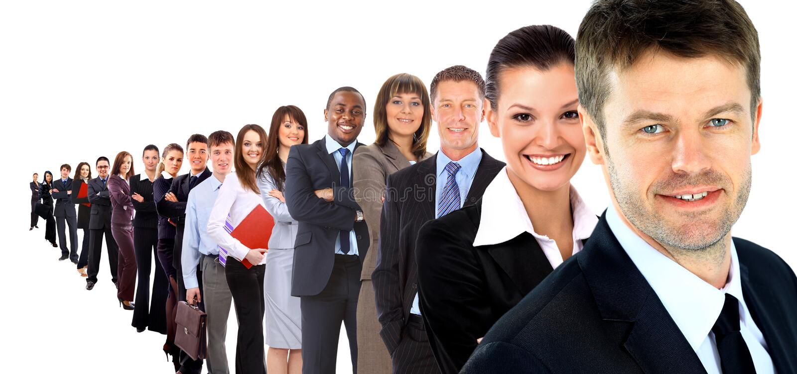 Business group in a row isolated stock photos