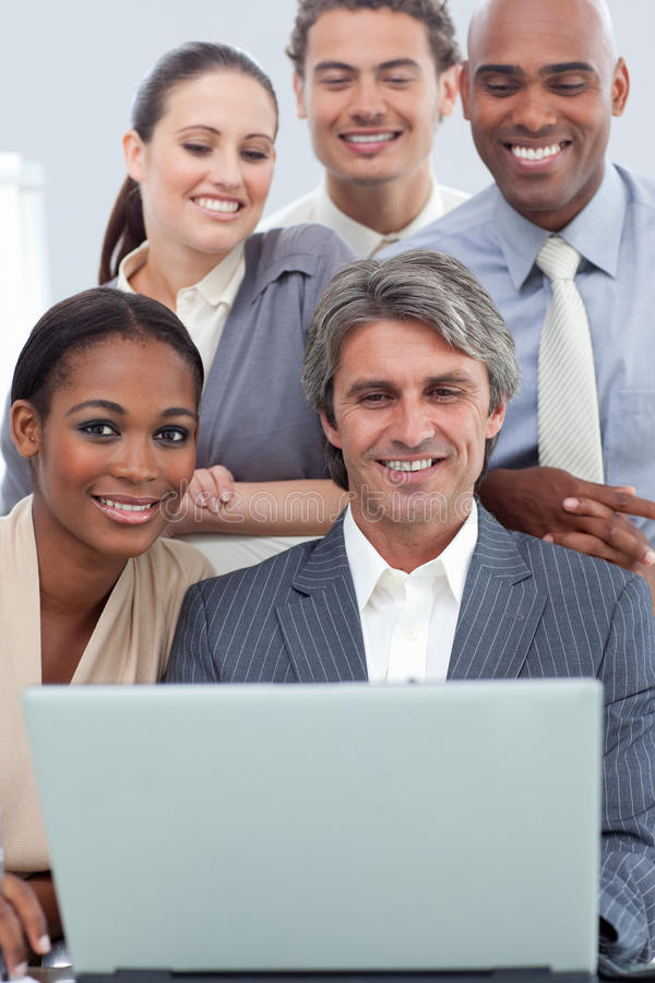 A business group showing ethnic diversity working